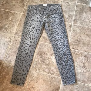 Current Elliot Grey Cheetah Size 28 Jeans